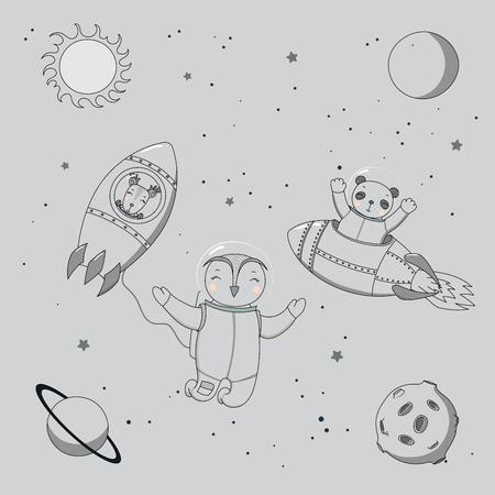 Hand getrokken monochrome vectorillustratie van een leuke grappige herten en panda-astronauten in raketten en uil op een ruimtewandeling, op een achtergrond met planeten en sterren. Geïsoleerde objecten. Ontwerpconcept kinderen.