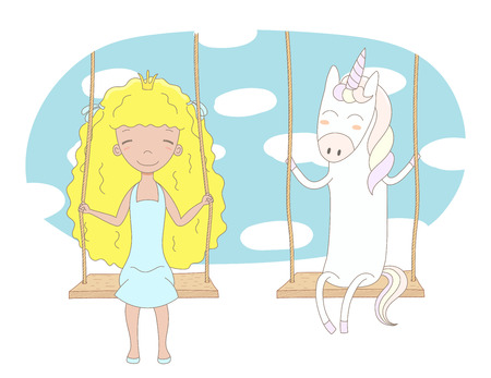 Hand drawn vector illustration of a cute little princess (crown can be removed) and unicorn, sitting on a swing, with sky and white clouds in the background. Isolated objects. Design concept for kids. 版權商用圖片 - 88892601