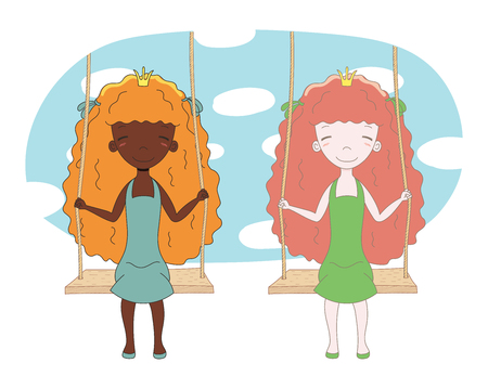 Hand drawn vector illustration of two cute little princesses (crown can be removed), sitting together on a swing, with sky and white clouds in the background. Isolated objects. Design concept for kids