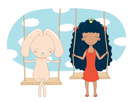 Hand drawn vector illustration of a cute little princess (crown can be removed) and rabbit, sitting on a swing, with sky and white clouds in the background. Isolated objects. Design concept for kids. Illustration