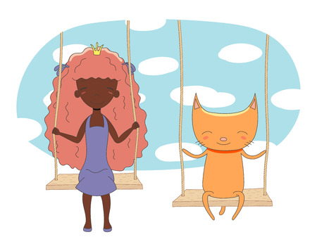 Hand drawn vector illustration of a cute little princess (crown can be removed) and cat, sitting on a swing, with sky and white clouds in the background. Isolated objects. Design concept for children.