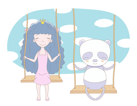 Hand drawn vector illustration of a cute little princess (crown can be removed) and panda, sitting on a swing, with sky and white clouds in the background. Isolated objects. Design concept for kids. Illustration