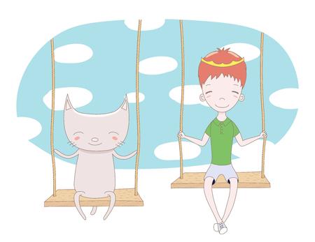 かわいい王子の描かれたベクトル イラストの手 (王冠を削除することができます) と空と白い雲がバック グラウンドで、ブランコに座っている猫。