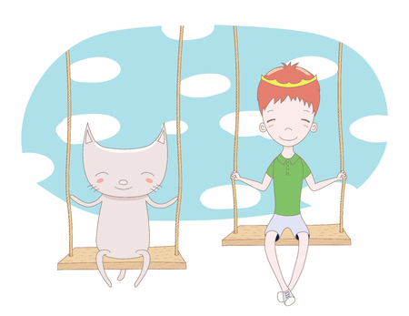 Hand drawn vector illustration of a cute little prince (crown can be removed) and cat, sitting on a swing, with sky and white clouds in the background. Isolated objects. Design concept for children.