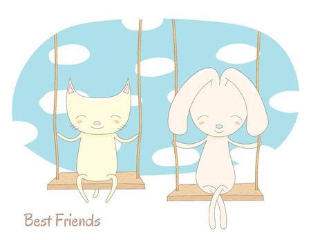 Hand drawn vector illustration of a cute cat and rabbit, sitting together on a swing, with blue sky and white clouds in the background, text Best friends. Isolated objects. Design concept for children