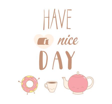 Ilustración de vector dibujado a mano de un lindo donut, pote y una taza de café, texto Tenga un buen día. Objetos aislados sobre fondo blanco. Diseño concepto postre, niños, tarjetas de felicitación, cartel de motivación.