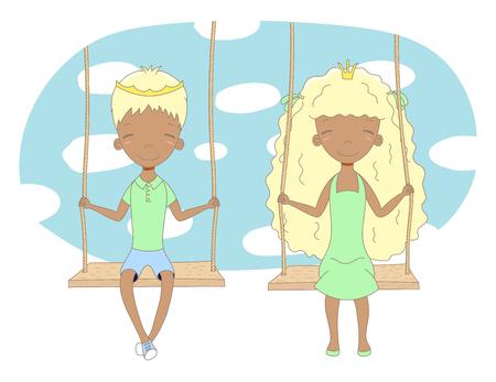 Hand getrokken vector illustratie van een schattige kleine prinses en prins (kroon kan worden verwijderd), op een schommel, met blauwe lucht en witte wolken op de achtergrond. Geïsoleerde objecten. Ontwerpconcept voor kinderen.