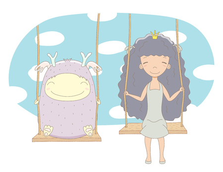 Hand drawn vector illustration of a cute little princess (crown can be removed) and smiling monster, on a swing, with sky and white clouds in the background. Isolated objects. Design concept for kids.