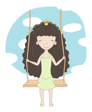 Hand drawn vector illustration of a cute little princess (crown can be removed), sitting on a swing, with blue sky and white clouds in the background. Isolated objects. Design concept for children.