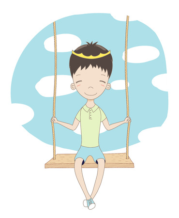 Hand drawn vector illustration of a cute little prince (crown can be removed), sitting on a swing, with blue sky and white clouds in the background. Isolated objects. Design concept for children.