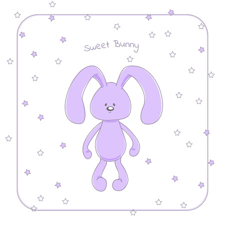 Vector illustration of a cute cuddly rabbit in pastel violet hues, with small eyes and long floppy ears, with text Sweet bunny. Design concept for baby shower invitation, children poster, sticker.