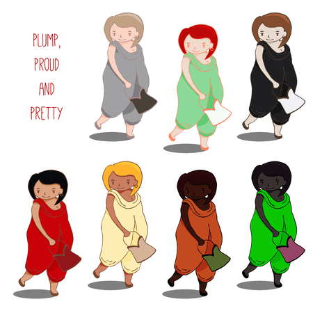 Set of hand drawn vectors of cute curvy girl in jumpsuit, holding handbag, walking, with different skin and hair colors,text Plump, proud and pretty. Design concept for postcard, poster, T-shirt print