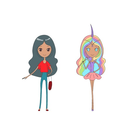 Hand drawn vector illustration of a cute girl with sparkly eyes and long hair, in casual clothes and as a magical unicorn girl. Isolated objects on white background. Design concept for girls.