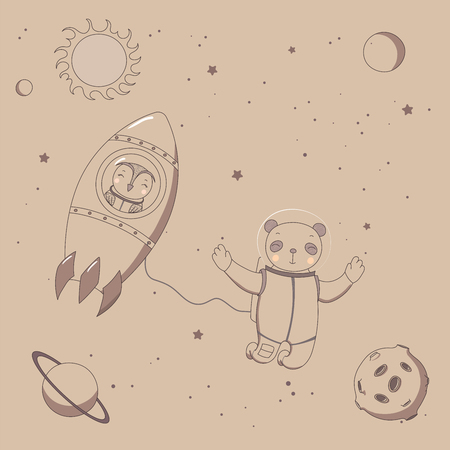 Hand drawn sepia vector illustration of a cute funny owl astronaut in a rocket and panda on a spacewalk, on a background with stars and planets. Isolated objects. Design concept kids. Illustration
