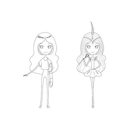 手にキラキラの目と長い髪を持つ可愛い女の子のベクトル イラストが描かれたは、魔法のユニコーン少女とカジュアルな服装で。白い背景の上の孤  イラスト・ベクター素材