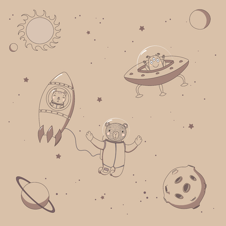 Hand drawn sepia vector illustration of a cute funny alien in a flying saucer, bear astronaut in a rocket and bear on a spacewalk, on a background with stars. Isolated objects. Design concept for kids