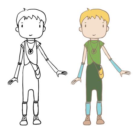 Illustration dessinée à la main d'une fille de dessin animé unisexe (garçon) aux cheveux courts, dans des couleurs terreuses. Carte postale, autocollant. Banque d'images - 88892644