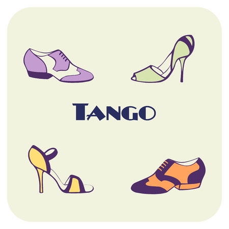 Hand drawn argentine tango poster with dancing shoes for men, women, in vintage colors, with text. Isolated objects, vector. Postcard, milonga invitation, promo materials for tango school or festival.
