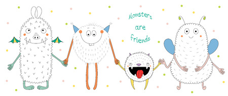 Hand drawn vector illustration of cute funny monsters smiling and holding hands, with text Monsters are friends. Isolated objects on white background with polka dots. Design concept for children. Illustration