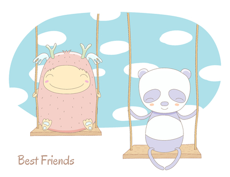 Hand drawn vector illustration of a cute smiling monster and panda, sitting on a swing, with blue sky and white clouds in the background, text Best friends. Isolated objects. Design concept for kids.