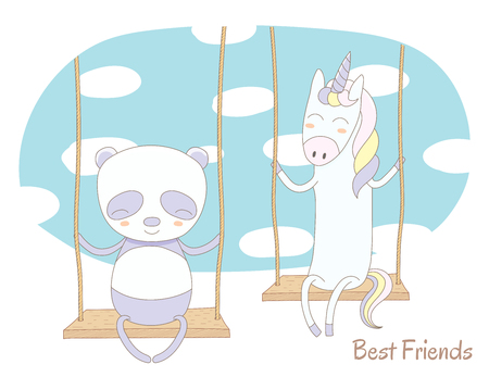 Hand drawn vector illustration of a cute unicorn and panda, sitting together on a swing, with blue sky and white clouds in the background, text Best friends. Isolated objects. Design concept for kids. Illustration