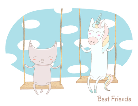 Hand drawn vector illustration of a cute unicorn and cat, sitting together on a swing, with blue sky and white clouds in the background, text Best friends. Isolated objects. Design concept for kids.