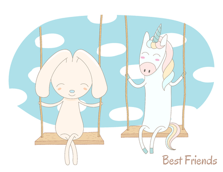 Hand drawn vector illustration of a cute unicorn and rabbit, sitting together on a swing, with blue sky and white clouds in the background, text Best friends. Isolated objects. Design concept for kids