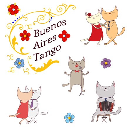 anthropomorphic: Hand drawn vector illustration argentine tango design elements - funny cats dancing and singing , playing bandoneon, traditional Buenos Aires fileteado ornaments. Isolated objects on white background.