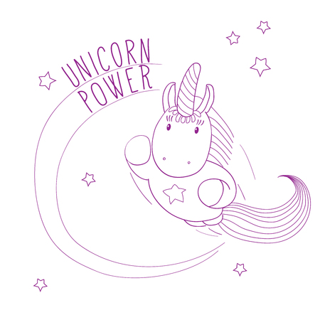 Hand drawn vector illustration of a cute unicorn flying among the stars, super hero style, with text Unicorn power. Outline. Design concept for children - postcard, poster, T-shirt print. Illustration