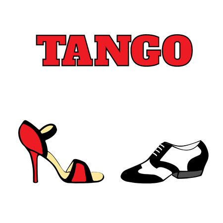 Vector argentine tango dancing shoes poster. Men shoe in black and white, 20s style, women shoe high heel, red and black, with word tango. Poster, postcard, milonga invitation.