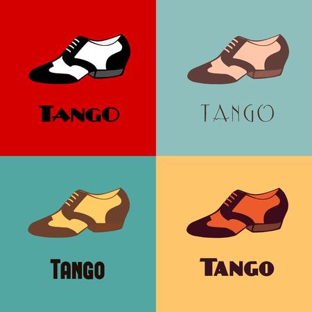 Hand getekend Argentijnse tango dansen schoenen poster met alternatief gekleurde set mannen schoenen in vintage kleuren, met woord tango. Briefkaart, milonga uitnodiging, flyer voor tango school of festival.