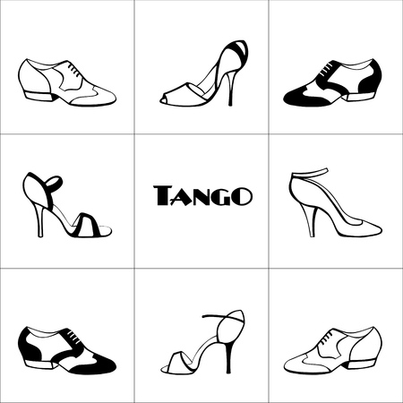 Hand drawn argentine tango poster with dancing shoes men and women, on a tiled background, in black and white, with word tango. Postcard, milonga invitation, flyer for tango school or festival.