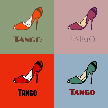 Hand drawn argentine tango dancing shoes poster with alternatively colored set of women shoes in vintage colors, with word tango. Postcard, milonga invitation, flyer for tango school or festival.