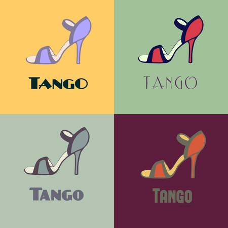 Hand drawn argentine tango poster with alternatively colored set of dancing women shoes in vintage colors. Postcard, milonga invitation, flyer for tango school or festival. 向量圖像