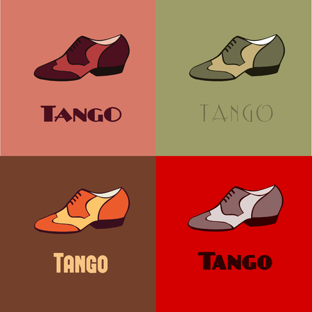 Hand drawn argentine tango dancing shoes poster with alternatively colored set of men shoes in vintage colors, with word tango. Postcard, milonga invitation, flyer for tango school or festival.