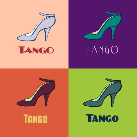 Hand drawn argentine tango poster with alternatively colored set of dancing women shoes in vintage colors. Postcard, milonga invitation, flyer for tango school or festival. Иллюстрация