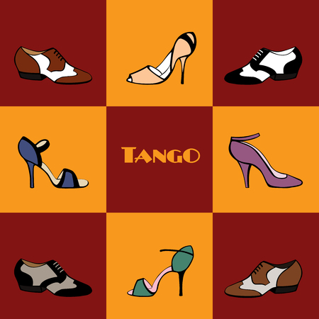 Hand drawn argentine tango poster with dancing shoes, on a tiled background, in vintage colors, with text. Postcard, milonga invitation, flyer for tango school or festival.