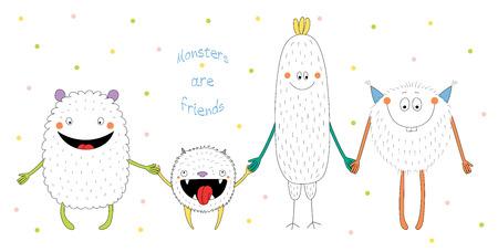 미소 하 고 텍스트와 손을 잡고 귀여운 재미 괴물의 손으로 그린 된 벡터 일러스트 레이 션 괴물 친구입니다. 폴카 도트와 흰색 배경에 고립 된 개 일러스트