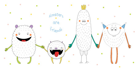 Hand drawn vector illustration of cute funny monsters smiling and holding hands, with text Monsters are friends. Isolated objects on white background with polka dots. Design concept for children. Ilustração