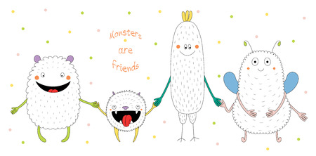 Hand drawn vector illustration of cute funny monsters smiling and holding hands, with text Monsters are friends. Isolated objects on white background with polka dots. Design concept for children.