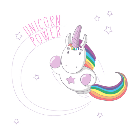Hand drawn vector illustration of a unicorn with rainbow mane and tail flying like super hero, with text Unicorn power. Isolated objects. Design concept for children - postcard, poster, T-shirt print.