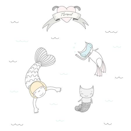 かわいいマーメイド ガールとフィンを泳ぐ、魚の尾を持つ 2 匹の猫の描かれたベクトル イラスト、スキューバ ダイビングのマスク、水、心および