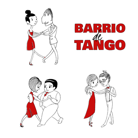 Hand drawn vector illustration of tree dancing couples with Spanish text Barrio de tango, meaning Tango district. Design concept for poster, postcard, milonga, tango festival or school promo materials. Imagens - 88892696