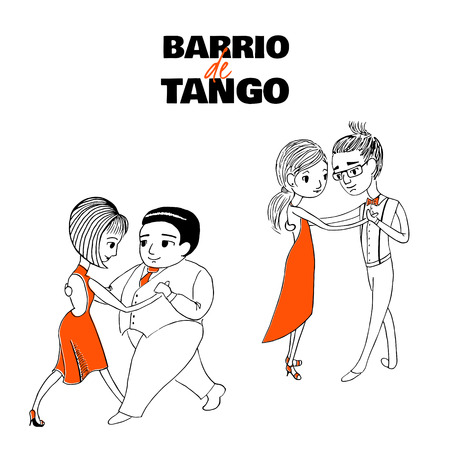 Hand drawn vector illustration of two dancing couples with Spanish text Barrio de tango, meaning Tango district. Design concept for poster, postcard, milonga, tango festival or school promo materials. 向量圖像
