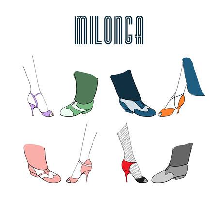 손으로 그려진 된 아르헨티나 탱고 milonga 포스터 남성과 여성 다리와 신발, 텍스트 춤. 고립 된 개체, 벡터. 밀롱가 초대장, 탱고 축제 홍보 자료 디자인