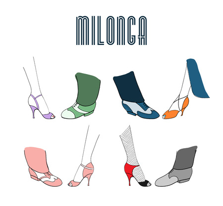 Hand drawn argentine tango milonga poster with men and women legs in dancing shoes, with text. Isolated objects, vector. Design concept for milonga invitation, promo materials for tango festival.