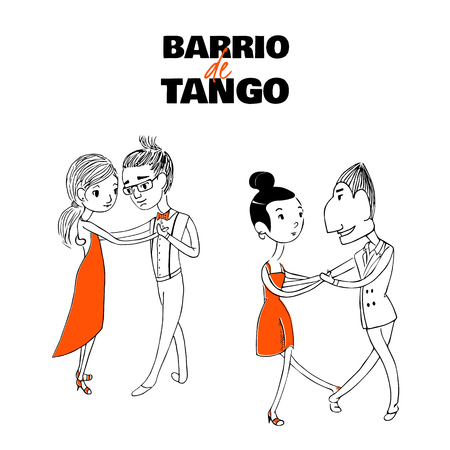 Hand drawn vector illustration of two dancing couples with Spanish text Barrio de tango, meaning Tango district. Design concept for poster, postcard, milonga, tango festival or school promo materials. Illustration