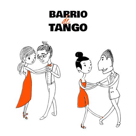 Hand getrokken vector illustratie van twee dansende paren met Spaanse tekst Barrio de tango, wat betekent Tango district. Ontwerpconcept voor poster-, briefkaart-, milonga-, tangofestival- of promo-schoolmaterialen.