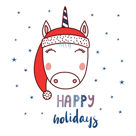 Hand drawn vector portrait of a cute funny unicorn in a Santa hat, text Happy holidays. Isolated objects on white background with stars. Vector illustration. Design concept for children, Christmas.