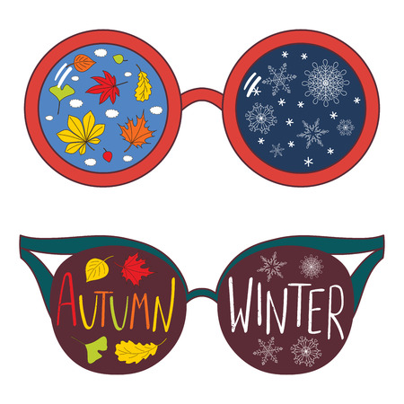 Hand drawn vector illustration of different glasses with text Winter, Autumn, leaves, snowflakes reflected inside the lenses. Isolated objects on white background. Design concept for change of seasons